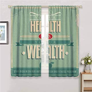 GUUVOR Fitness Premium Blackout Curtains Your Health is Your Wealth Vintage Poster Design Inspirational Kindergarten Noise Reduction Curtains W54 x L63 Inch Pale Green Pale Orange Tan
