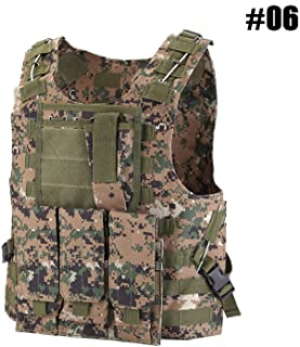 Tactical Vest Adjustable Combat Vest, MOLLE Plate Carrier Vest Sports Clothing with Removable Pouches for Hunting Airsoft Paintball CS, Outdoor Protective Vest Chest Protector