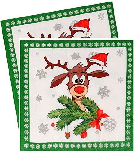alles-meine.de GmbH 10 Stück _ Servietten -  Didi das kleine Rentier - GRÜN / Winter  - zu Weihnachten - festlich gedeckt - Tischserviette Papier - Weihnachtstisch - Weihnachts..