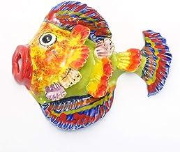 南イタリア レッチェ フィッシュ 壁掛け 魚 左向き 21X17cm ウォールデコレーション インテリア エクステリア 素焼き テラコッタ 陶器製 art-03v
