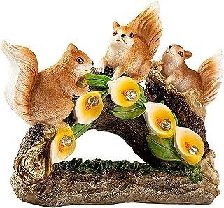 NiceCore écureuil Statue Jardin écureuil LED Lumière solaire Sculpture Figurine animale Résine Décoration étanche pour l'e...