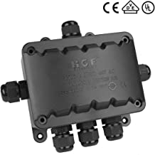 6 Way Larger Junction Box, La Vane IP66 Waterproof 6 Way T Shaped Cable Connector Lighting Connector Electrical External Coupler, M16 Cable Gland Ø 5-10mm