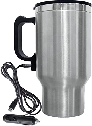 Swastik Steel Travel Outdoor Electric Mug 12V Car Charging Electric Kettle Stainless Steel Travel Coffee Mug Cup Heated Thermos 450Ml