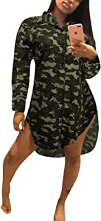 Women's Autumn Fashion Casual Long Sleeve Eye See You Printed Basic Shirt Dress