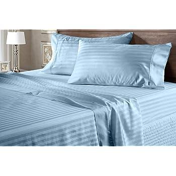 Juego de sábanas de 600 hilos, 100% algodón egipcio, 4 piezas, 38 cm de profundidad, tamaño individual, color azul claro: Amazon.es: Hogar