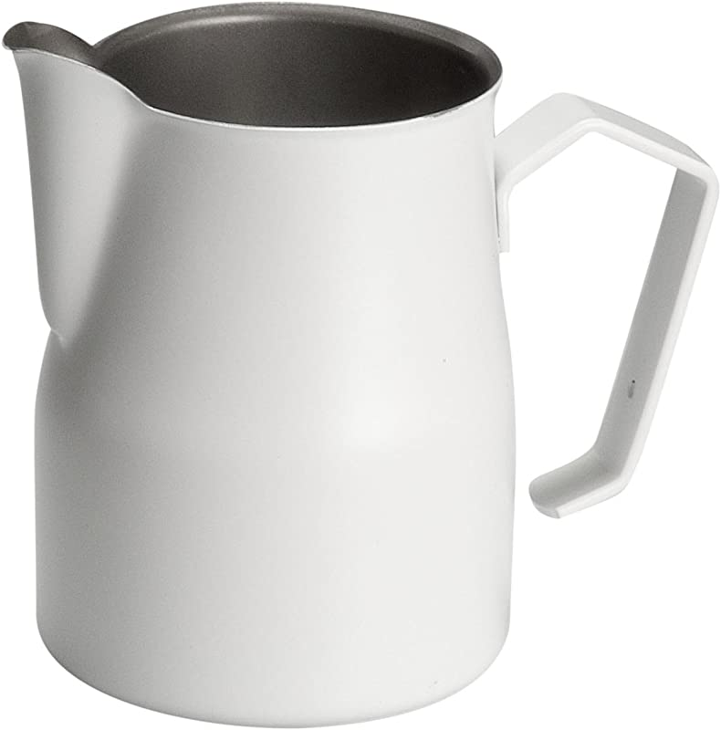 Motta Stainless Steel Professional Milk Pitcher Jugs 11 8 Fluid Ounce White
