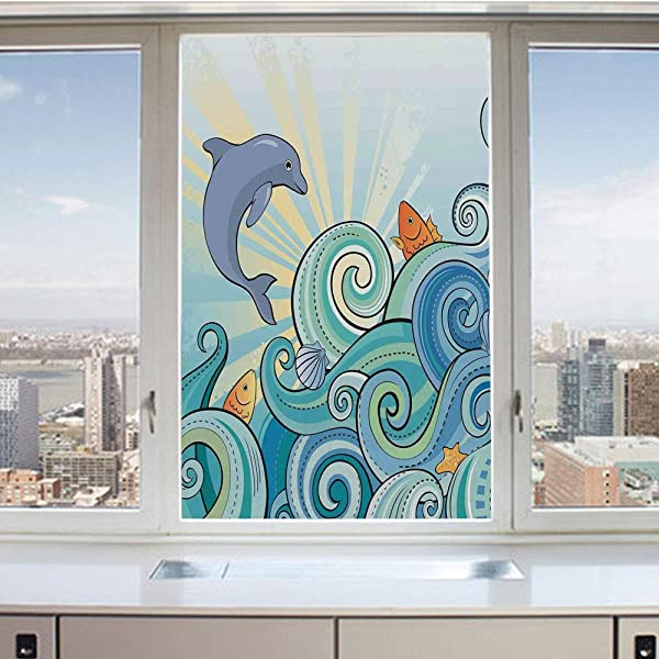 3D Decorative Privacy Window Films Cartoon Dolphin Fish Starfish Shells Lights In Ocean Marine In Summer Pattern No Glue Self Static Cling Glass Film For Home Bedroom Bathroom Kitchen Office 17 5x36 I