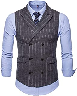 Mens Slim Fit Dress Vest Plaid/Stripes Double Breasted Vest Waistcoat Formal Premium Button Down Vest
