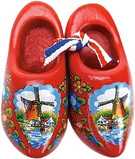 Essence of Europe Gifts E.H.G Decorative Wooden Shoe Clogs Dutch Landscape Design Red (3.25