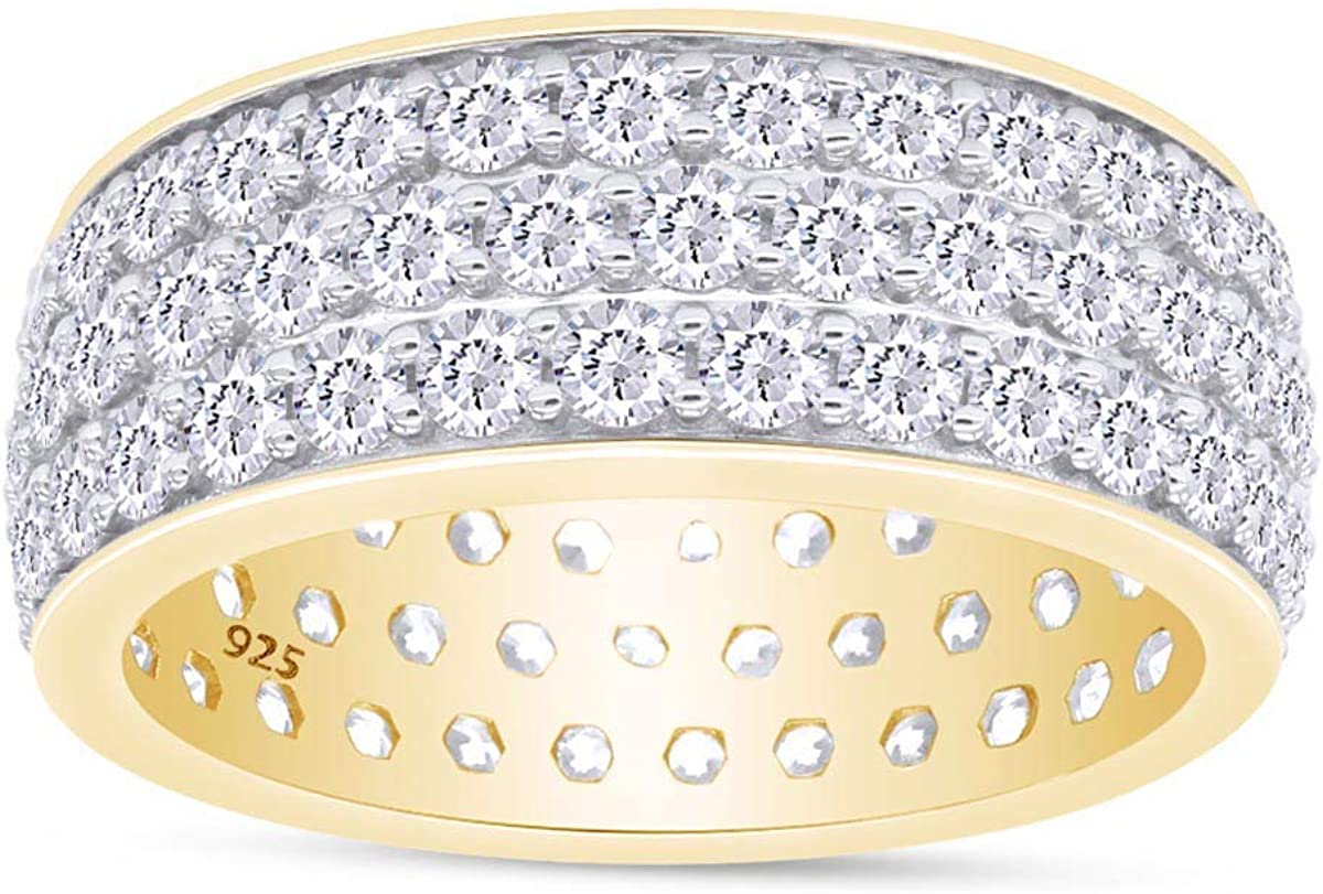 Easy-to-use Round Cut Sparkling White Cubic Eternity Full Wed Mail order Zirconia 3-Row