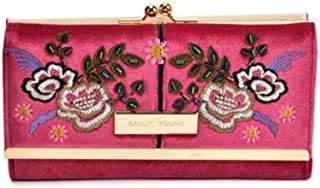Fashionable retro style wallet with flower print design and gold detailing, compact clutch with press stud closure