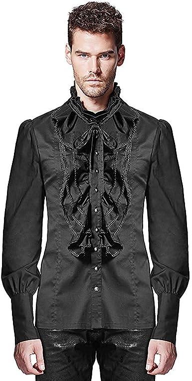 Punk Rave Camisa Hombre Top Negro Gótico Steampunk Vintage ...