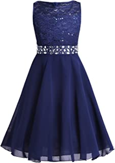 Nimiya Kids Girls Sleeveless Lace Chiffon Flower Girls Dress Sequins Rhinestone Skirt Bridesmaid Wedding Formal Ball Gown