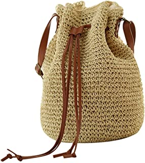 Abuyall Women Straw Crossbody Shoulder Bag Drawstring Bucket Summer Beach Bag