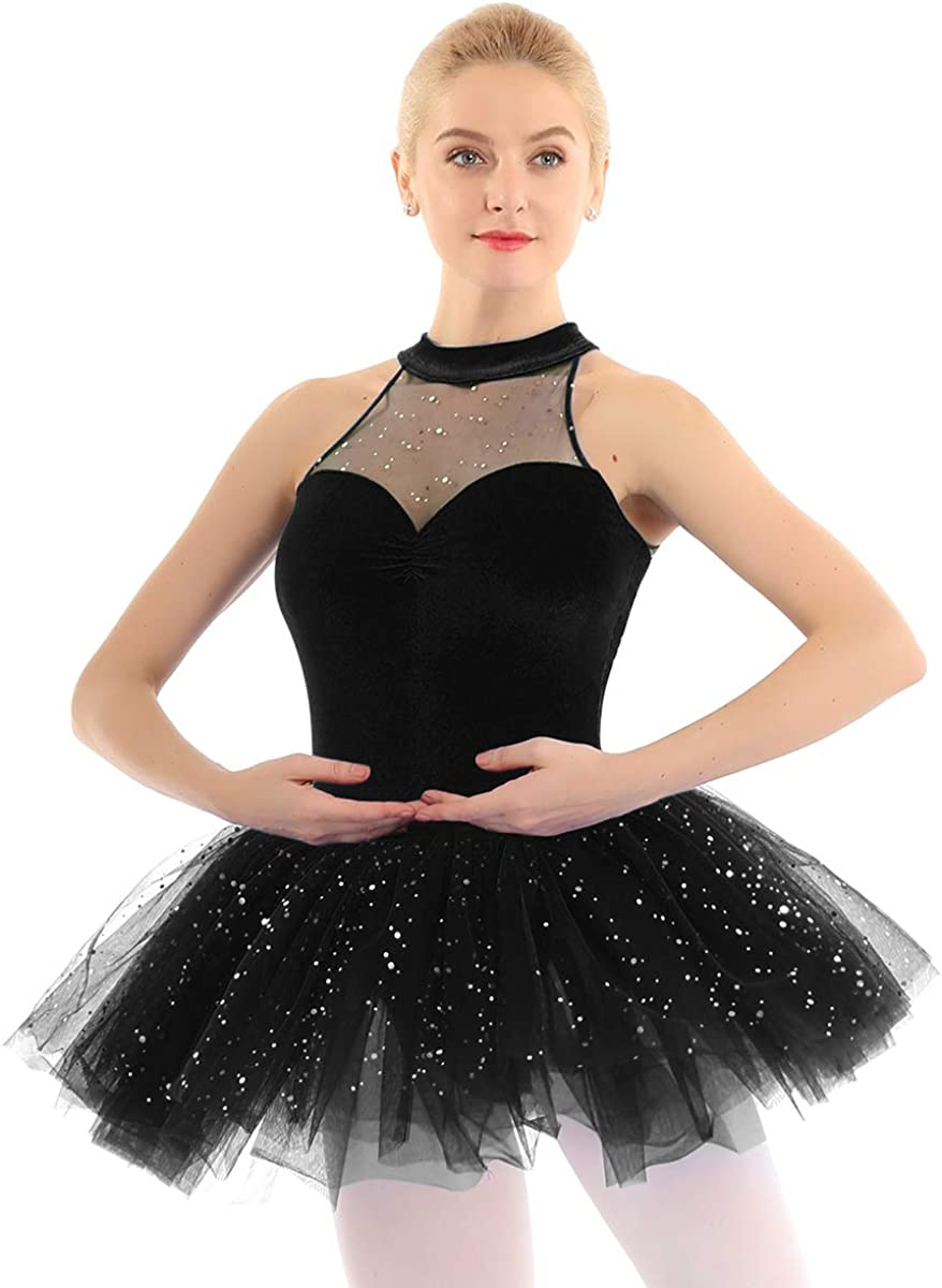 winying Womens Shiny Sequins Sleeveless Costume Ballet Tut All items Fees free!! in the store Dance