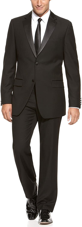 Izod Men's Formal Tuxedo Single Breasted 2-Buttons Suit 48 Regular 42W Black