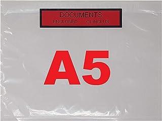 De 100 a 10 000 Pochettes porte document ci-inclus format A5 (feuille A4 plié en 2) adhésives transparente, imprimée docum...