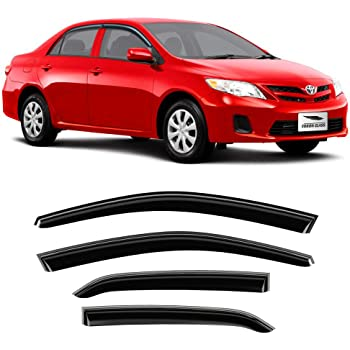 4 Pieces Ineedup Window Visors Fits for 2009-2013 Toyota Corolla,Tape-on Rain Guards Side Window Deflectors 2pcs for Front Doors and 2pcs for Rear Doors