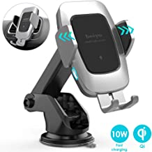 Heiyo Wireless Car Charger Mount, Qi 10W/7.5W Fast Charging Automatic Clamp Car Holder, Dashboard Air Vent Car Charger Holder Compatible for Samsung S10/S9/S9+/S8/Note 8, iPhone Xs/Max/XR/8(Platinum)