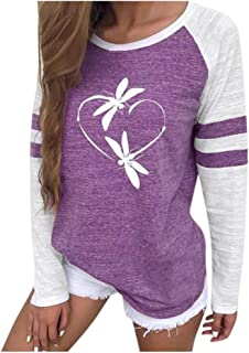 LONGDAY Womens Casual Long Sleeve Shirt Loose Soft Pullover Top Tunic Round Neck Print Sweatshirt Blouse Lightweight
