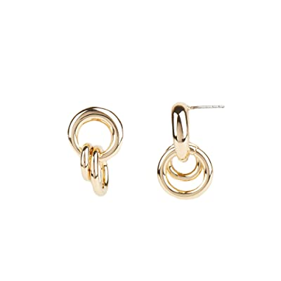 Rebecca Minkoff Duo Ring Cluster Post Earrings (Gold) Earring