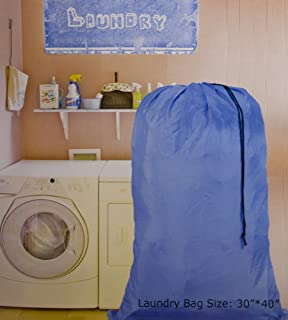 HomeLux Large 30 X 40 Inch Heavy Duty Nylon Laundry Bag with Drawstring Slip Lock Closure, Assorted Colors and Designs