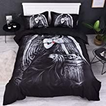 TheFit Paisley Bedding Home for Adult W1744 Black Angel Wing Feather Duvet Cover Set Microfiber Fabric and Cotton, Twin Queen King Set, 2-3 Pieces (King)