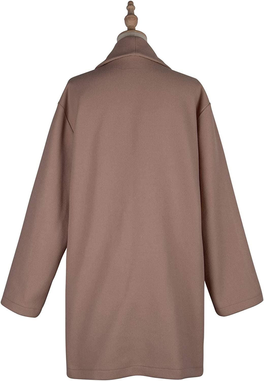 Onsoyours Knöpfen Oversize Umlegekragen Langarm Elegant Wollmantel Wintermantel Damen Mode Cardigan Violett