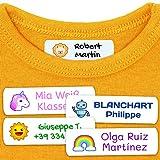 50 Etiquetas Termoadhesivas Personalizadas, de 6 x 2 cms, para marcar la ropa....