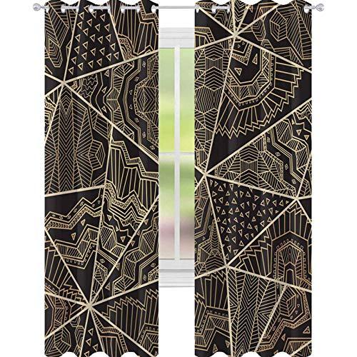 YUAZHOQI Cortina opaca de ventana abstracta vector sin costuras triangular patchwork patrón de estrellas estilizadas y roseta oriental radial. Cortinas personalizadas de 52 x 213 cm