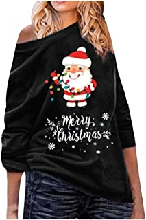 Keepmove Women Winter Tops Plus Size Warm Off Shoulder Christmas Hat Long Sleeve Print Blouse Fashion T-Shirt