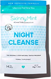 SkinnyMint Night Cleanse Teatox. All Natural Detox Tea Cleanse for Weight Loss