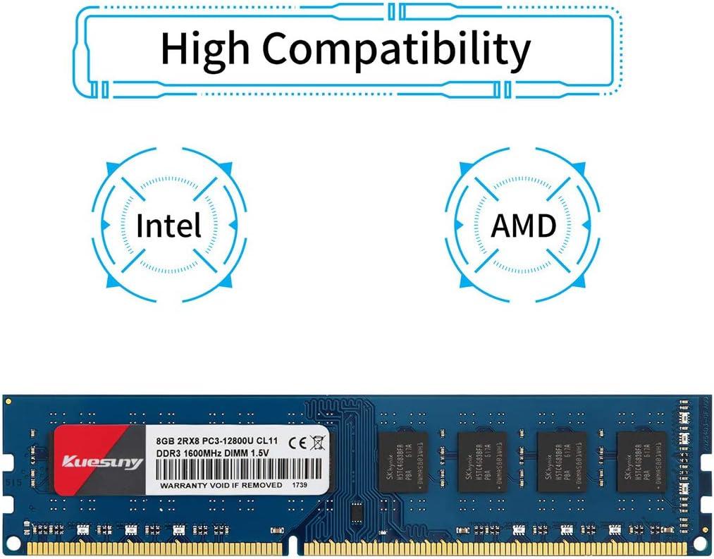 Kuesuny 8GB Kit DDR3L//DDR3 1600MHz Sodimm Ram PC3L//PC3-12800S PC3L//PC3-12800 1.35V//1.5V CL11 204 Pin 2RX8 Dual Rank Non-ECC Unbuffered Memory Ram Ideal for Notebook Laptop Upgrade 2X4GB