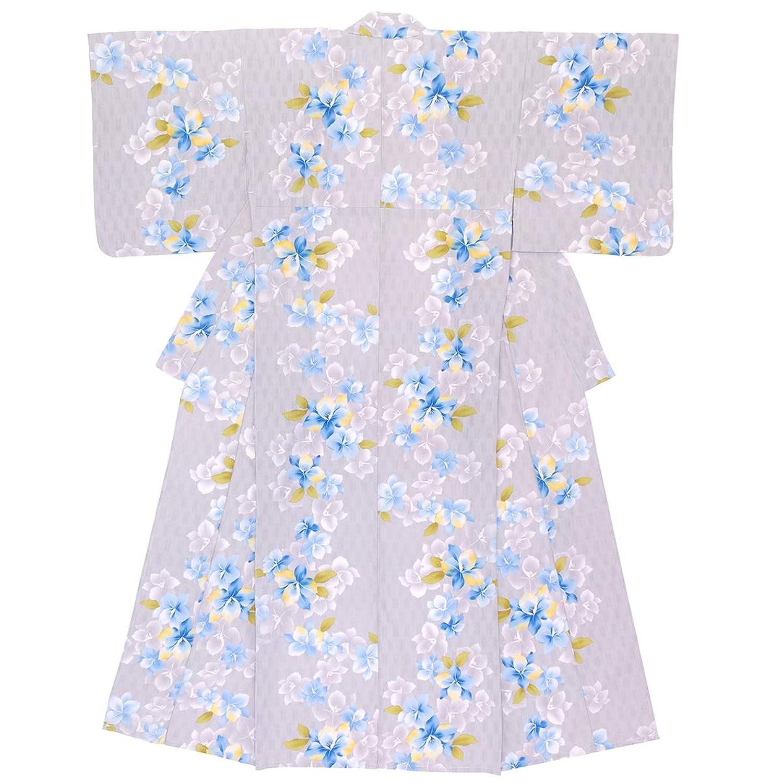 (ソウビエン) 浴衣 レディース 単品 灰色 グレー 花 ラメ 綿 変わり織 ボヌールセゾン フリーサイズ