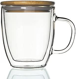 Double-wall 16 oz Borosilicate Glass Coffee Mug Cup TeaCup(with bamboo lid)