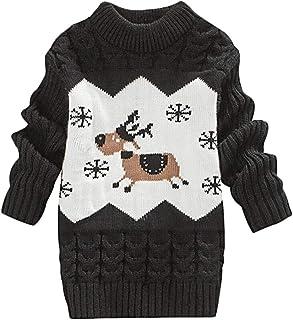 Baby Sweater Dress Niños Niña Christmas Jumper Invierno Jersey de Punto Grueso Cuello Redondo Cálido Transpirable Suave Moda Caricatura Patrón Amigable con La Piel Adecuado para 1-3 Años