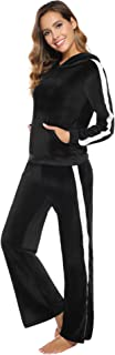Aibrou Women Sweatsuits Set 2 Piece Velour Hooded Jacket and Pants Chunky Tracksuit Sets for Winter