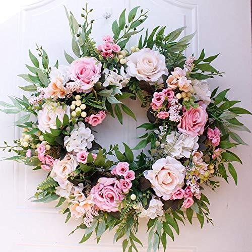 HUAZHUO - Guirnalda de flores artificiales para puerta de 50,8 cm, para decoración de boda, decoración del hogar, fiesta, corona de otoño, decoración de granja (champán)
