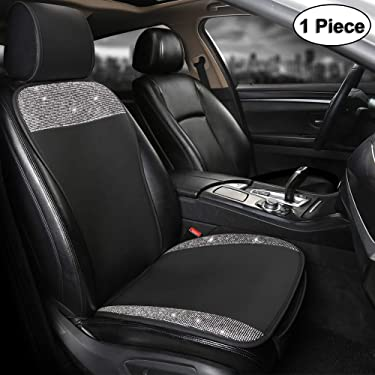 Black Panther Luxury PU Leather Front Car Seat Cover Protector with Bling Bling Crystal Rhinestones for Women Girls, Universal Fit 95% of Cars, Black