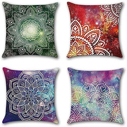 Hugyou 4 fundas de almohada creativas con diseño de flores de colores para la habitación