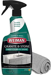 Weiman Granite Cleaner and Polish - 24 Ounce and Microfiber Cloth - Enhances Natural Color in Granite Quartz Stone and Marble