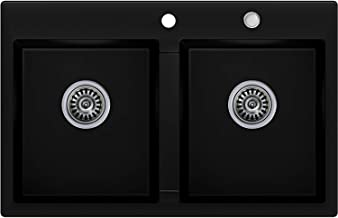 /Évier composite en granit Bergstr/öm 580 x 420 cm /Évier de cuisine encastr/é base bac bonde rotative siphon