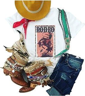 80s Shirt Rodeo Las Vegas 1985 USA Vintage T Shirt Women Short Sleeve Casual Tee