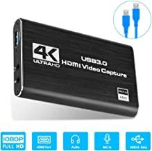 Game Capture Card, 4K HDMI to USB 3.0 HD Video Audio Capture Device 1080P 60FPS Game Box Recorder, HDMI Camera Video Conferencing, Live Streaming for Windows, Linux, OS X System, PS4/Switch (Black)