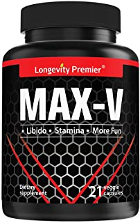 Max-V Male Performance Enhancement - 20X More Concentrated Horny Goat Weed & Other Herbal Extraction - 100% Natural Herbs ...