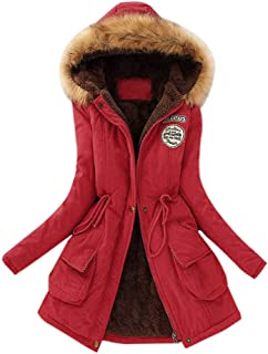 Womens Warm Long Coat Plush Collar Hooded Jacket Mallcat Slim Solid Color Winter Parka Outwear Coats Cotton Clothes