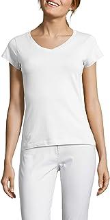 H HIAMIGOS Women's Comfort Cotton Long Sleeve/Short Sleeve V-Neck T-Shirt/Underscrub Tee Basic Layer Spandex Shirts