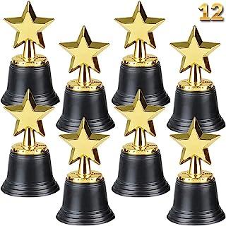 Star Trophy Awards - Pack of 12 Bulk - 4.5 Inch, Gold Award Trophies for Kids Party Favors, Props, Rewards, Winning Prize...