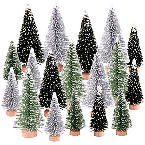 Peerless 18 PCS Miniature Christmas Tree Small Artificial Miniatures Sisal Snow Frost Trees, Diorama Models, Micro Scenery Landscape Architecture Trees for Christmas Crafts Tabletop Decor