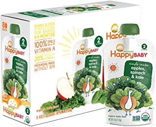 Happy Baby Organic Stage 2 Baby Food Simple Combos Spinach Apples & Kale, 4 Ounce Pouch (Pack of 16) Resealable Baby Food Pouches, Fruit & Veggie Puree, Organic Non-GMO Gluten Free Kosher